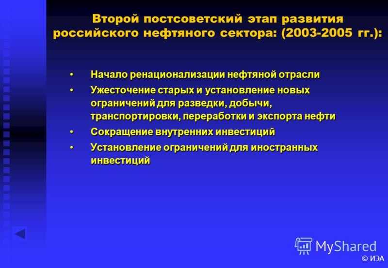 © ИЭА : Второй постсоветский этап развития российского нефтяного сектора: (2003-2005 гг.): Начало ренационализации нефтяной отрасли Ужесточение старых и установление новых ограничений для разведки, добычи, транспортировки, переработки и экспорта нефт