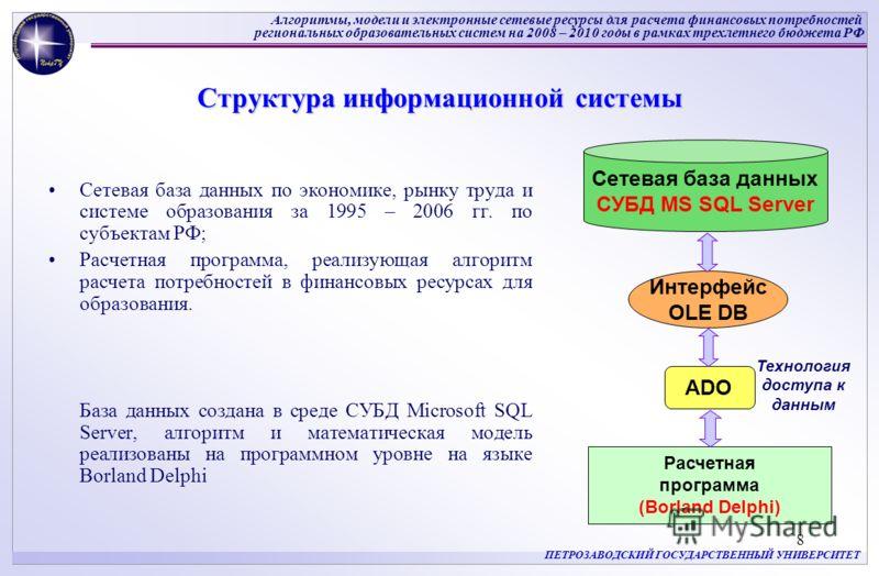 Алгоритмы, модели и электронные сетевые ресурсы для расчета финансовых потребностей региональных образовательных систем на 2008 – 2010 годы в рамках трехлетнего бюджета РФ ПЕТРОЗАВОДСКИЙ ГОСУДАРСТВЕННЫЙ УНИВЕРСИТЕТ 8 Структура информационной системы