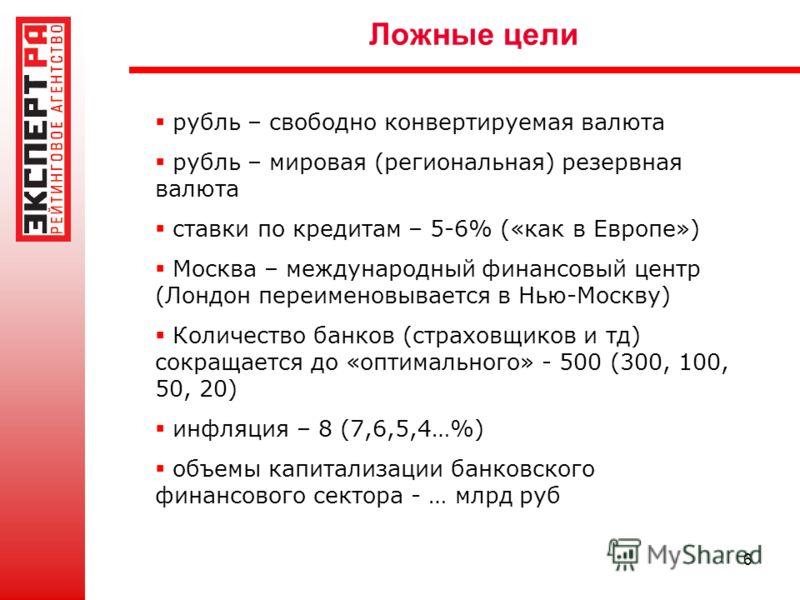 6 Ложные цели рубль – свободно конвертируемая валюта рубль – мировая (региональная) резервная валюта ставки по кредитам – 5-6% («как в Европе») Москва – международный финансовый центр (Лондон переименовывается в Нью-Москву) Количество банков (страхов