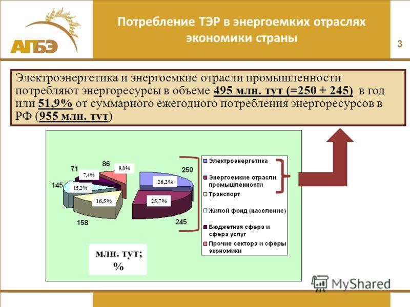 Потребление ТЭР в энергоемких отраслях экономики страны 3 Электроэнергетика и энергоемкие отрасли промышленности потребляют энергоресурсы в объеме 495 млн. тут (=250 + 245) в год или 51,9% от суммарного ежегодного потребления энергоресурсов в РФ (955