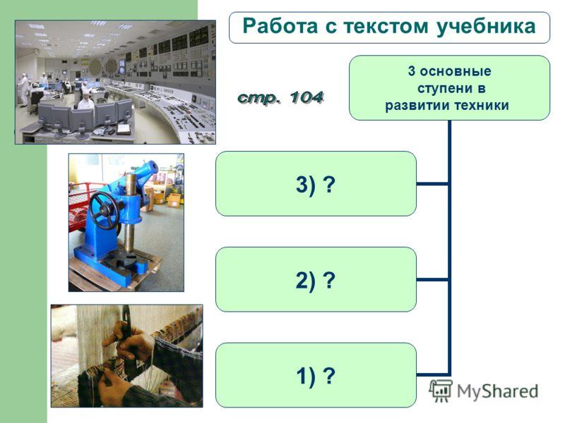 Работа с текстом учебника Стр.104 3 основные ступени в развитии техники 3) ? 2) ? 1) ?