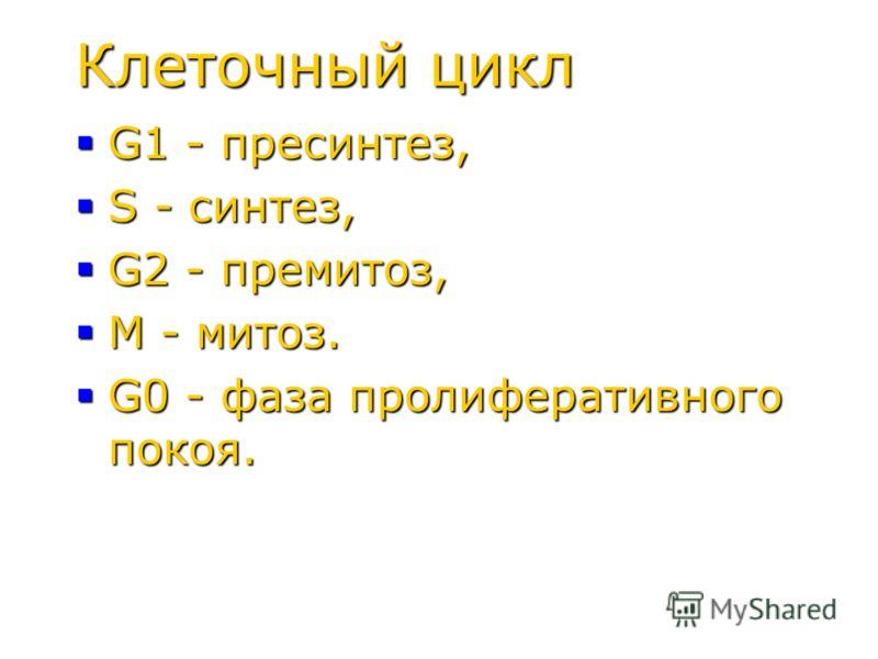 Клеточный цикл G1 - пресинтез, G1 - пресинтез, S - синтез, S - синтез, G2 - премитоз, G2 - премитоз, M - митоз. M - митоз. G0 - фаза пролиферативного покоя. G0 - фаза пролиферативного покоя.