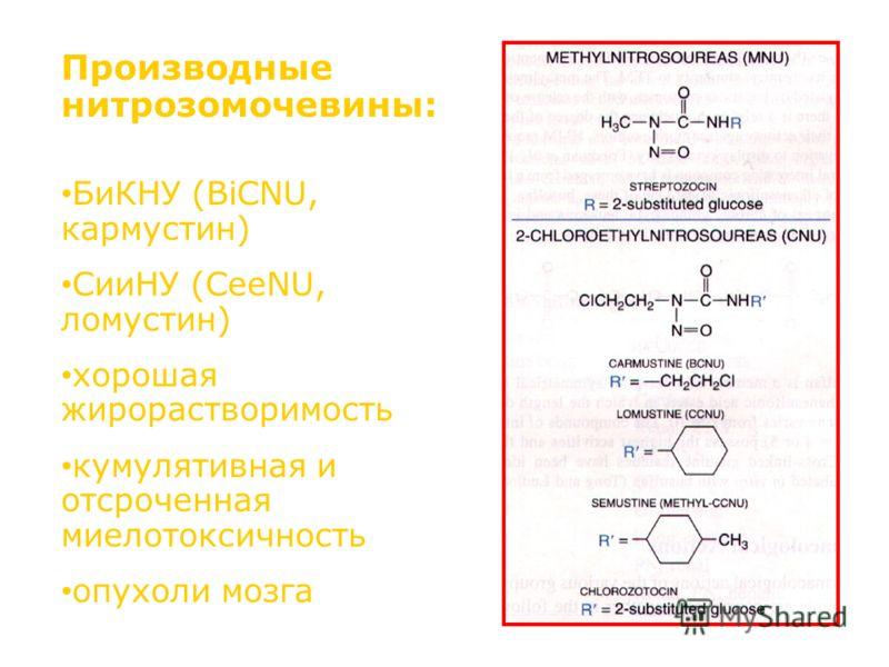 Производные нитрозомочевины: БиКНУ (BiCNU, кармустин) СииНУ (CeeNU, ломустин) хорошая жирорастворимость кумулятивная и отсроченная миелотоксичность опухоли мозга