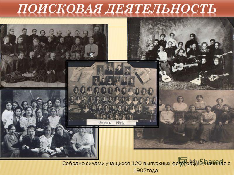 Собрано силами учащихся 120 выпускных фотографий, начиная с 1902года.