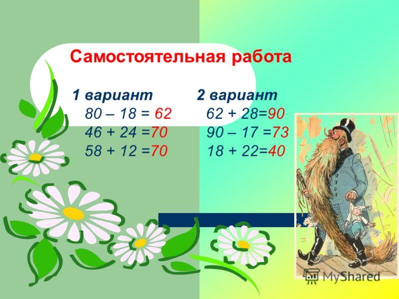 Самостоятельная работа 1 вариант 2 вариант 80 – 18 = 62 62 + 28=90 46 + 24 =70 90 – 17 =73 58 + 12 =70 18 + 22=40