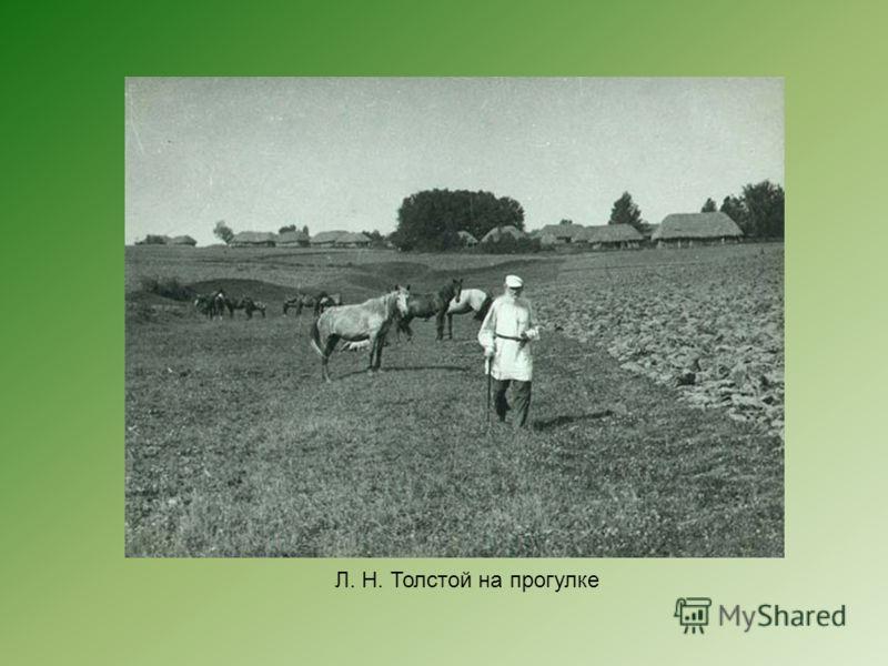 Л. Н. Толстой на прогулке