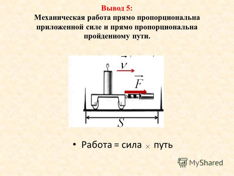 Работа = сила путь Вывод 5: Механическая работа прямо пропорциональна приложенной силе и прямо пропорциональна пройденному пути.