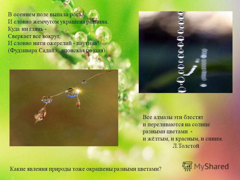В осеннем поле выпала роса, И словно жемчугом украшена равнина. Куда ни глянь - Сверкает все вокруг, И словно нити ожерелий - паутина! (Фудзивара Садайэ, японская поэзия) Все алмазы эти блестят и переливаются на солнце разными цветами - и жёлтым, и к