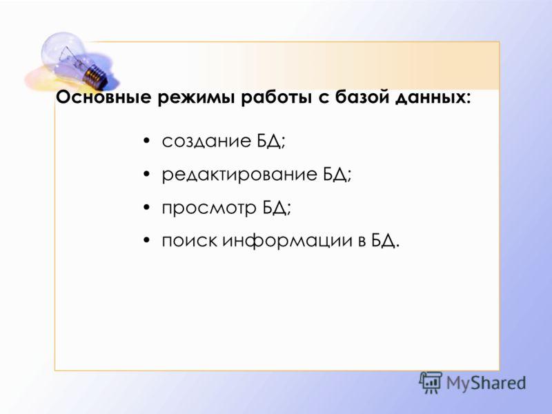 Основные режимы работы с базой данных: создание БД; редактирование БД; просмотр БД; поиск информации в БД.