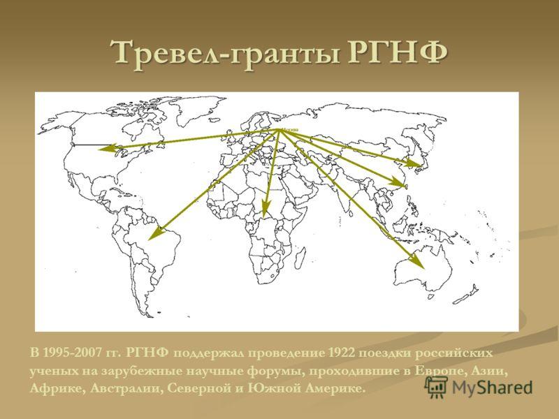 Тревел-гранты РГНФ В 1995-2007 гг. РГНФ поддержал проведение 1922 поездки российских ученых на зарубежные научные форумы, проходившие в Европе, Азии, Африке, Австралии, Северной и Южной Америке.