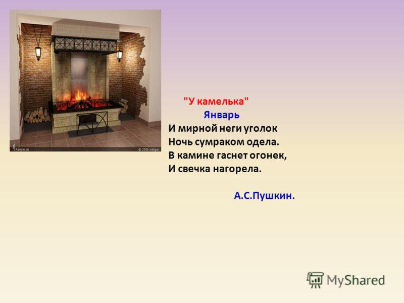 У камелька Январь И мирной неги уголок Ночь сумраком одела. В камине гаснет огонек, И свечка нагорела. А.С.Пушкин.