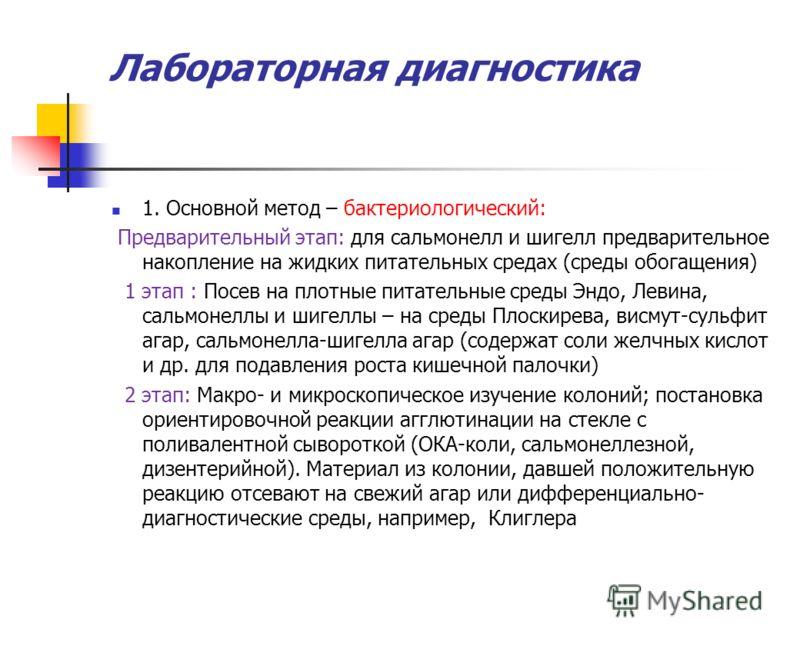 Лабораторная диагностика 1. Основной метод – бактериологический: Предварительный этап: для сальмонелл и шигелл предварительное накопление на жидких питательных средах (среды обогащения) 1 этап : Посев на плотные питательные среды Эндо, Левина, сальмо