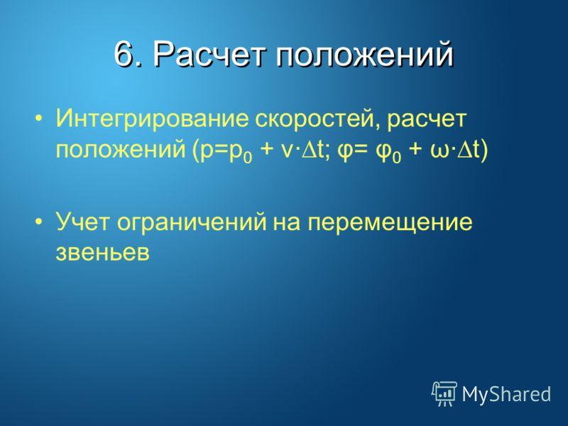 6. Расчет положений Интегрирование скоростей, расчет положений (p=p 0 + v· t; φ= φ 0 + ω· t) Учет ограничений на перемещение звеньев