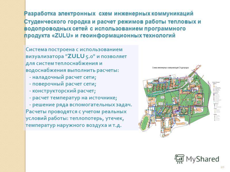 20 Разработка электронных схем инженерных коммуникаций Студенческого городка и расчет режимов работы тепловых и водопроводных сетей с использованием программного продукта «ZULU» и геоинформационных технологий Система построена с использованием визуал