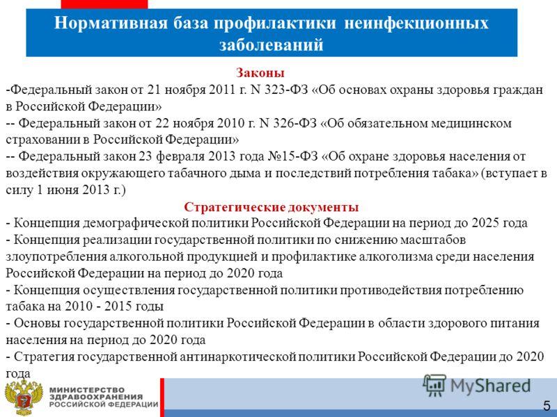 5 Нормативная база профилактики неинфекционных заболеваний -Федеральный закон от 21 ноября 2011 г. N 323-ФЗ «Об основах охраны здоровья граждан в Российской Федерации» -- Федеральный закон от 22 ноября 2010 г. N 326-ФЗ «Об обязательном медицинском ст