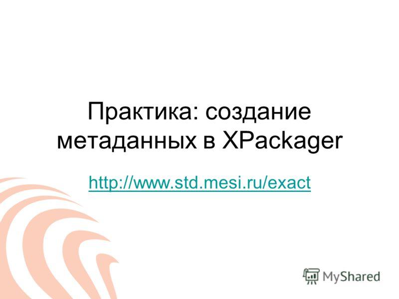 Практика: создание метаданных в XPackager http://www.std.mesi.ru/exact