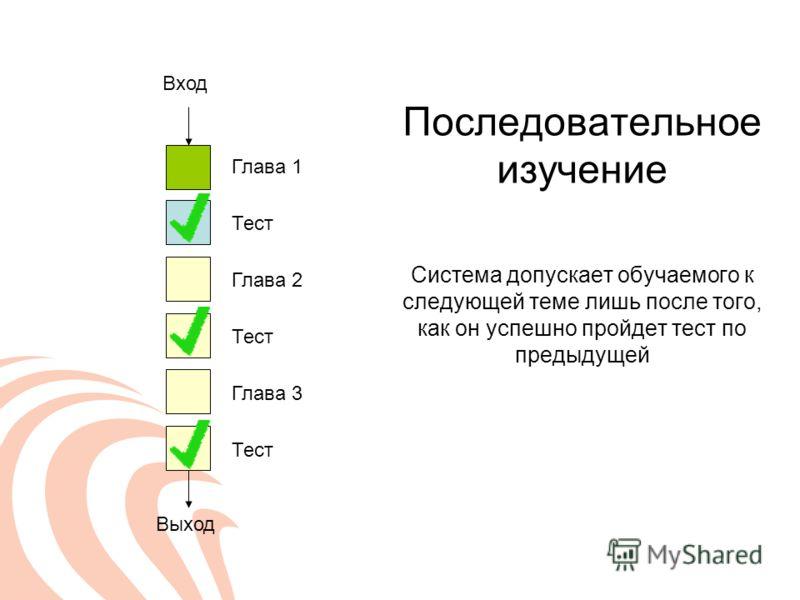 Последовательное изучение Система допускает обучаемого к следующей теме лишь после того, как он успешно пройдет тест по предыдущей Глава 1 Вход Выход Тест Глава 2 Тест Глава 3 Тест