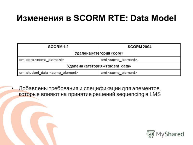 Изменения в SCORM RTE: Data Model Добавлены требования и спецификации для элементов, которые влияют на принятие решений sequencing в LMS SCORM 1.2SCORM 2004 Удалена категория «core» cmi.core. cmi.. Удалена категория «student_data» cmi.student_data. c
