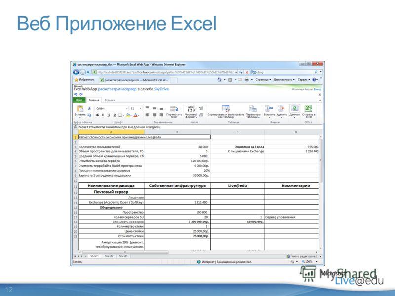 12 Веб Приложение Excel