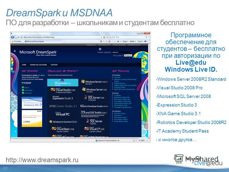 20 DreamSpark и MSDNAA ПО для разработки – школьникам и студентам бесплатно Программное обеспечение для студентов – бесплатно при авторизации по Live@edu Windows Live ID. Windows Server 2008R2 Standard Visual Studio 2008 Pro Microsoft SQL Server 2008
