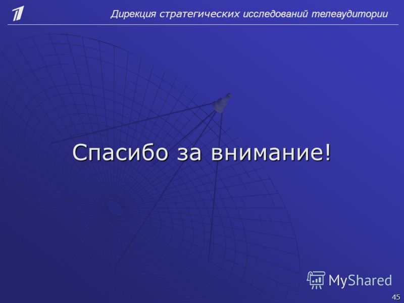 Спасибо за внимание! Дирекция стратегических исследований телеаудитории 45