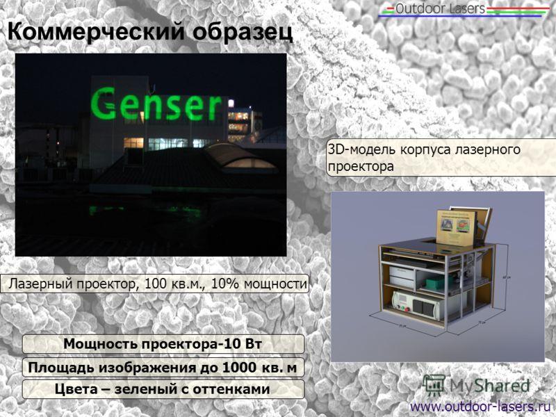 Коммерческий образец Лазерный проектор, 100 кв.м., 10% мощности 3 D- модель корпуса лазерного проектора Мощность проектора-10 Вт Площадь изображения до 1000 кв. м Цвета – зеленый с оттенками www.outdoor-lasers.ru
