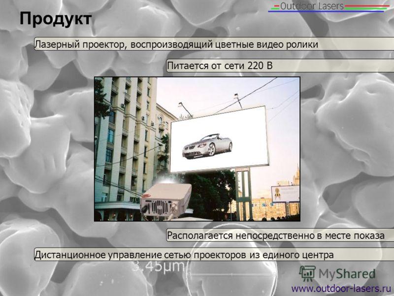 Продукт www.outdoor-lasers.ru Лазерный проектор, воспроизводящий цветные видео ролики Располагается непосредственно в месте показа Дистанционное управление сетью проекторов из единого центра Питается от сети 220 В