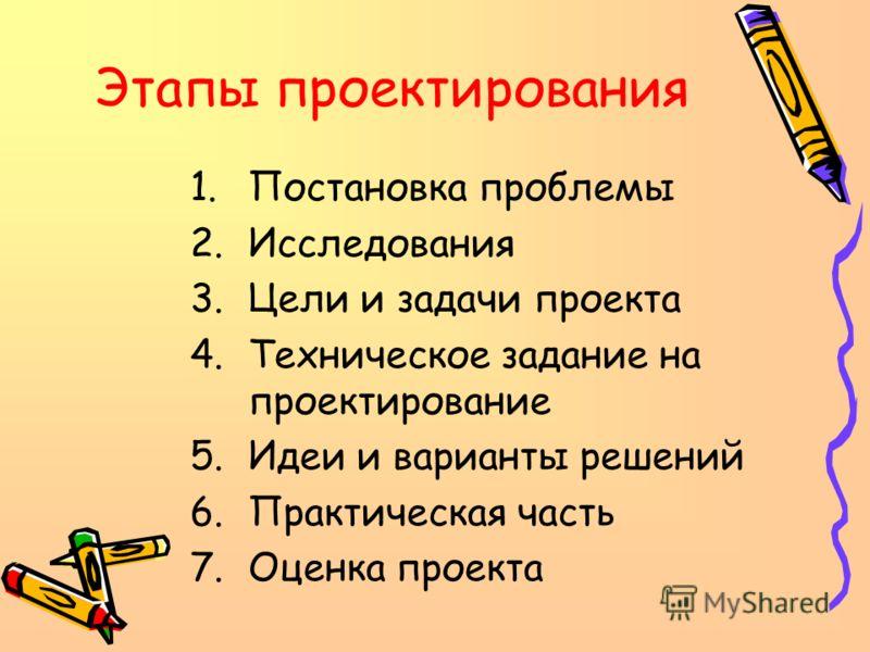 Этапы проектирования 1.Постановка проблемы 2.Исследования 3.Цели и задачи проекта 4.Техническое задание на проектирование 5.Идеи и варианты решений 6.Практическая часть 7.Оценка проекта