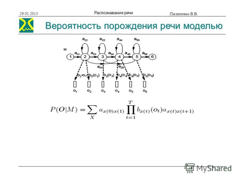 Вероятность порождения речи моделью Пилипенко В.В. 29.01.2013 Распознавание речи