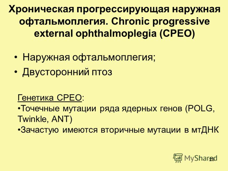 Хроническая прогрессирующая наружная офтальмоплегия. Chronic progressive external ophthalmoplegia (CPEO) Наружная офтальмоплегия; Двусторонний птоз Генетика CPEO: Точечные мутации ряда ядерных генов (POLG, Twinkle, ANT) Зачастую имеются вторичные мут