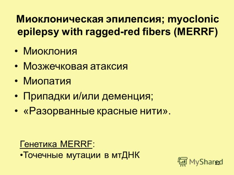 Миоклоническая эпилепсия; myoclonic epilepsy with ragged-red fibers (MERRF) Миоклония Мозжечковая атаксия Миопатия Припадки и/или деменция; «Разорванные красные нити». Генетика MERRF: Точечные мутации в мтДНК 32