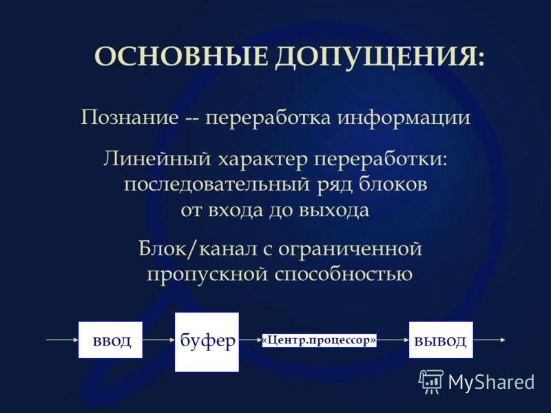 ОСНОВНЫЕ ДОПУЩЕНИЯ: Познание -- переработка информации Линейный характер переработки: последовательный ряд блоков от входа до выхода Блок/канал с ограниченной пропускной способностью вводвыводбуфер «Центр.процессор»