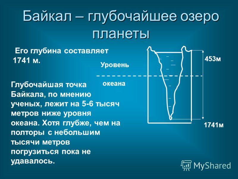 Его глубина составляет 1741 м. Уровень океана 453м 1741м Глубочайшая точка Байкала, по мнению ученых, лежит на 5-6 тысяч метров ниже уровня океана. Хотя глубже, чем на полторы с небольшим тысячи метров погрузиться пока не удавалось. Байкал – глубочай