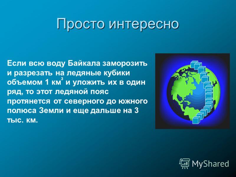 Просто интересно Если всю воду Байкала заморозить и разрезать на ледяные кубики объемом 1 км 3 и уложить их в один ряд, то этот ледяной пояс протянется от северного до южного полюса Земли и еще дальше на 3 тыс. км.