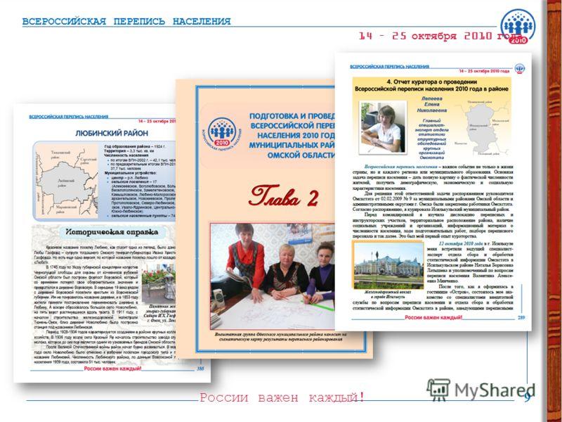 России важен каждый! 9 ВСЕРОССИЙСКАЯ ПЕРЕПИСЬ НАСЕЛЕНИЯ 14 – 25 октября 2010 года