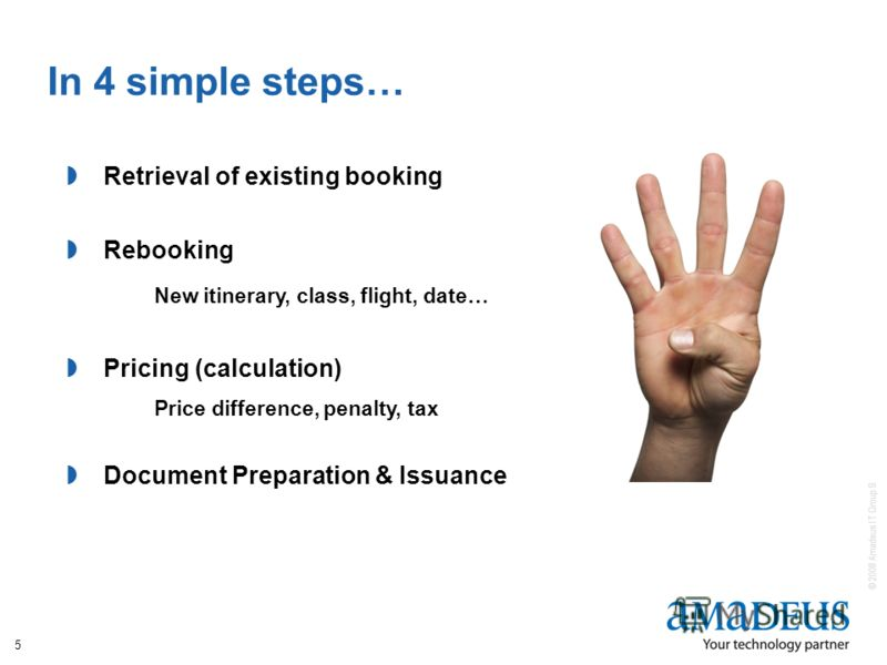 © 2008 Amadeus IT Group SA 5 In 4 simple steps… Retrieval of existing booking Rebooking New itinerary, class, flight, date… Pricing (calculation) Price difference, penalty, tax Document Preparation & Issuance