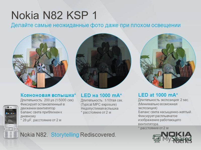 Nokia N82. Storytelling Rediscovered. Nokia N82 KSP 1 Делайте самые неожиданные фото даже при плохом освещении Ксеноновая вспышка* Длительность: 200 μs (1/5000 сек) Фиксирует остановленный в движении вентилятор Баланс света приближен к дневному * 28