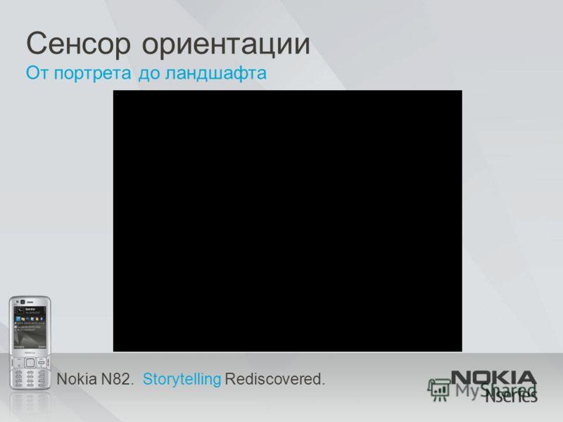 Nokia N82. Storytelling Rediscovered. Сенсор ориентации От портрета до ландшафта