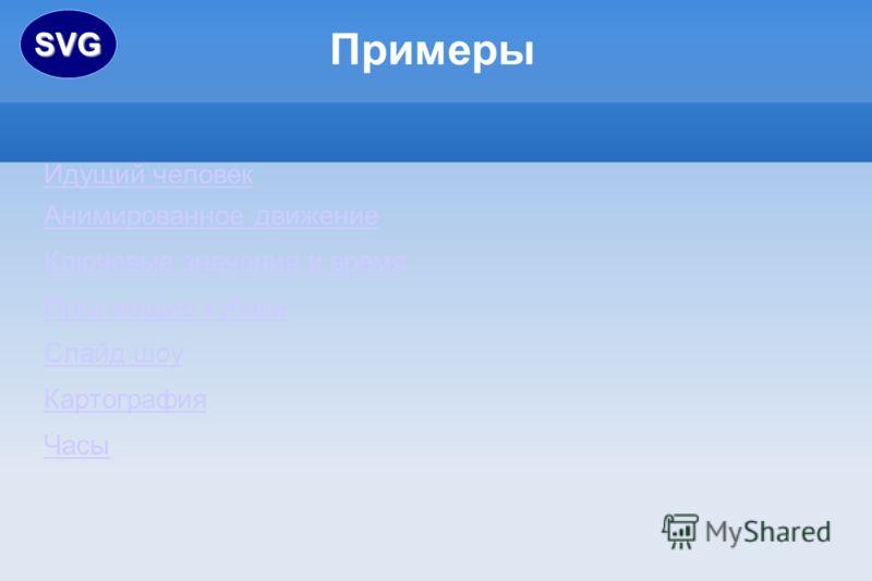 Идущий человек Анимированное движение Ключевые значения и время Прыгающие кубики Слайд шоу Картография Часы ПримерыSVG