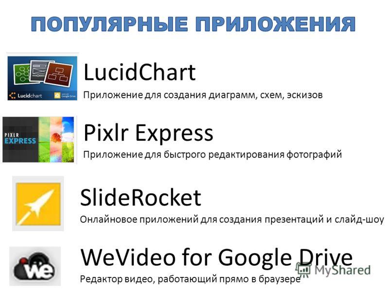 LucidChart Приложение для создания диаграмм, схем, эскизов Pixlr Express Приложение для быстрого редактирования фотографий SlideRocket Онлайновое приложений для создания презентаций и слайд-шоу WeVideo for Google Drive Редактор видео, работающий прям