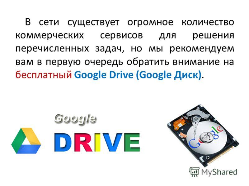 В сети существует огромное количество коммерческих сервисов для решения перечисленных задач, но мы рекомендуем вам в первую очередь обратить внимание на бесплатный Google Drive (Google Диск).