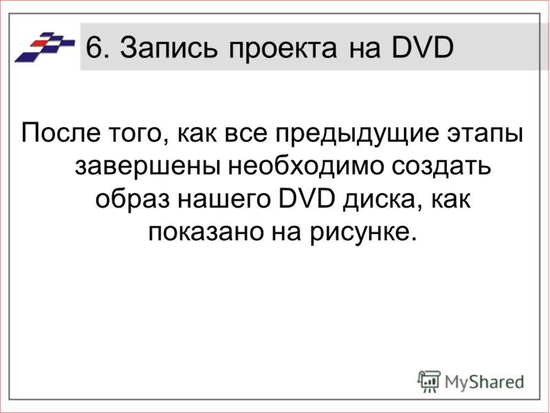 6. Запись проекта на DVD После того, как все предыдущие этапы завершены необходимо создать образ нашего DVD диска, как показано на рисунке.