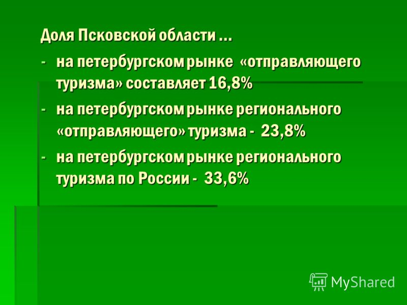 Доля Псковской области … -на петербургском рынке «отправляющего туризма» составляет 16,8% -на петербургском рынке регионального «отправляющего» туризма - 23,8% -на петербургском рынке регионального туризма по России - 33,6%