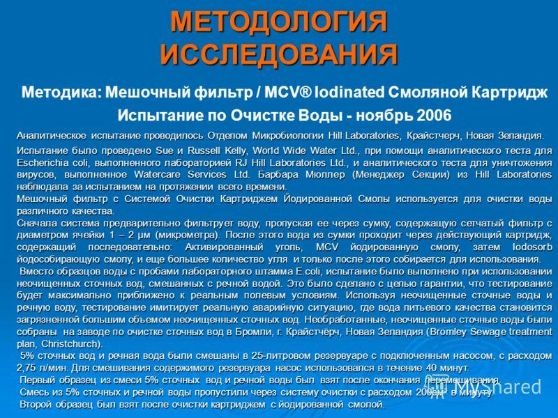 Методика: Мешочный фильтр / MCV® Iodinated Смоляной Картридж Испытание по Очистке Воды - ноябрь 2006 Аналитическое испытание проводилось Отделом Микробиологии Hill Laboratories, Крайстчерч, Новая Зеландия. Испытание было проведено Sue и Russell Kelly