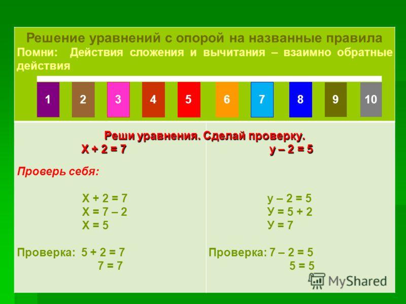 Счет по числовому ряду Счет по числовому ряду Решение уравнений с опорой на названные правила Помни: Действия сложения и вычитания – взаимно обратные действия Проверь себя: Х + 2 = 7 Х = 7 – 2 Х = 5 Проверка: 5 + 2 = 7 7 = 7 у – 2 = 5 У = 5 + 2 У = 7