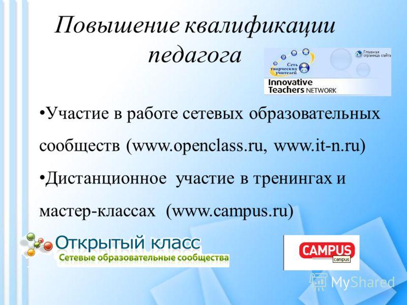 Повышение квалификации педагога Участие в работе сетевых образовательных сообществ (www.openclass.ru, www.it-n.ru) Дистанционное участие в тренингах и мастер-классах (www.campus.ru)