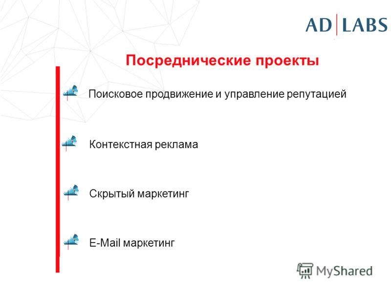 Посреднические проекты Поисковое продвижение и управление репутацией Контекстная реклама Скрытый маркетинг E-Mail маркетинг