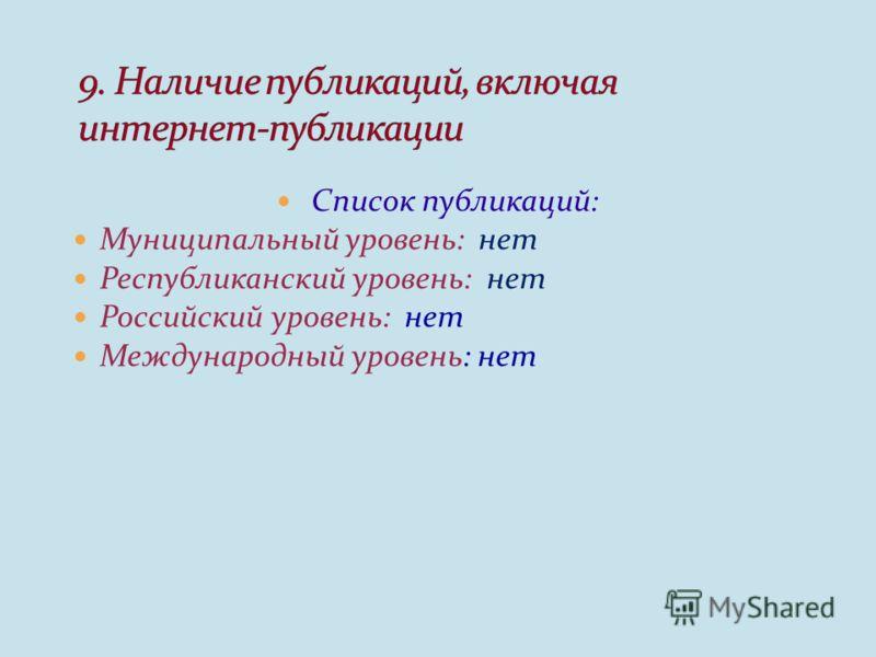 Список публикаций: Муниципальный уровень: нет Республиканский уровень: нет Российский уровень: нет Международный уровень: нет
