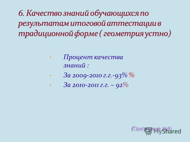 Процент качества знаний : За 2009-2010 г.г.-93% % За 2010-2011 г.г. – 92% ( Приложение 8)