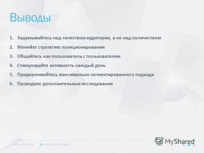 19 Выводы КA Smart Media www.smart-media.ru 1.Задумывайтесь над качеством аудитории, а не над количеством 2.Меняйте стратегию позиционирования 3.Общайтесь как пользователь с пользователем 4.Стимулируйте активность каждый день 5.Придерживайтесь максим